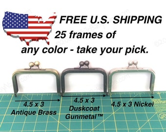 25 frames of 4.5x3 purse frame - 4in wallet sized of your choice of Antique Brass, Duskcoat Gunmetal™ or Nickel