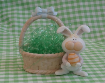 Easter Egg Basket with Bunny Rabbit, Vintage Fabrizio for George Good Bisque Figurine, 1986
