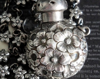 VINAIGRETTE Floral Perfume Bottle Assemblage Necklace. Victorian Repousse Antique Chatelaine. Maker George W Shiebler. Sterling Silver