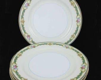 "Noritake China Althea Salad Plates (4) 7-1/2"" Circa 1930's"