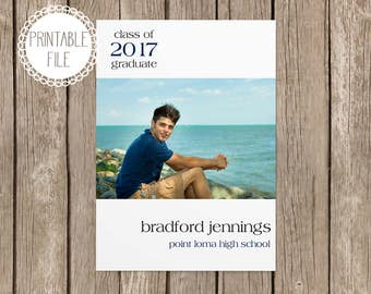 Class of 2017 Graduation Announcement with Photo, Digital Printable File