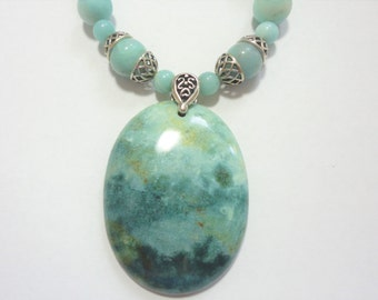 Amazonite Necklace Misty Mountain Valley Natural Scenic Amazonite Gemstone Pendant and Amazaonite Bead Necklace with Sterling