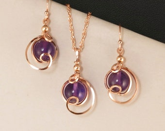 Purple Amethyst Pink Gold Jewelry Gift Set For Her, Amethyst Gemstone Rose Gold Jewelry, Amethyst Drop Pendant Chain Necklace Set