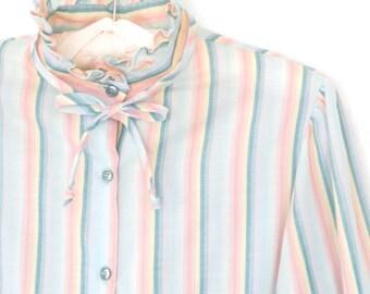 80s Ruffle Shirt * Candy Striped Blouse * 80s Ascot Blouse * Pastel Stripes * Small / Medium