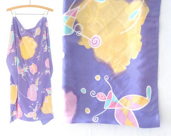 Large Vintage Scarf * 80s Scarf * Oversized Scarf * Silk Scarf
