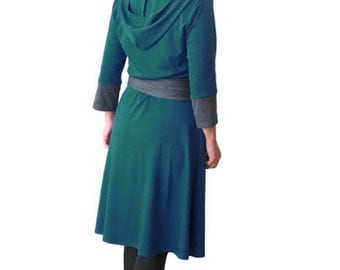 Womens dresses, Hoodie dress, Jersey Dress, Green dress, Obi belt dress, Winter dress, Midi dress, Custom dress, Dress