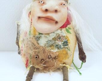 Folk Art Doll Ornament holiday christmas coth clay miniature doll #55