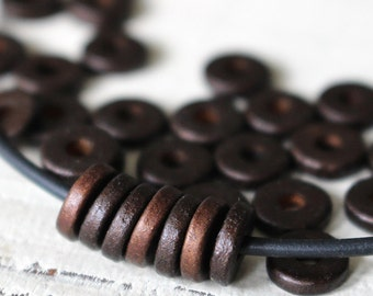 8mm Mykonos Beads - Round Washer Beads - Jewelry Making - Greek Ceramic Beads - Antique Bronze Matte - Choose Your Amount