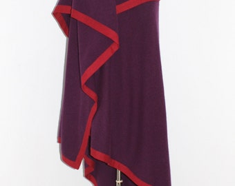 Vintage CHRISTIAN DIOR Purple Red Wool Angora Shawl Poncho Wrap Blanket