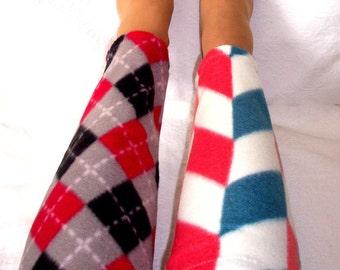 Leg Warmers, Dance warm ups, Women's Boot Liners, Fleece knee high leg warmers, Colorful Plaid  Cozy Warm Fleece Leg Warmers, Handmade