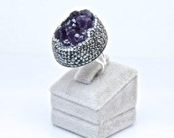 Druzy Chrysoprase Purple Gemstone Swarovski Crystal  Rings Sterling Silver  Adjustable Sparkly Drusy , FedEx Shipping