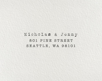 Return Address Stamp, Self-Inking Address Stamp, Custom Stamp, Personalized Stamp, Typewriter Stamp, Wedding Stamp, Wood Stamp - Style #48