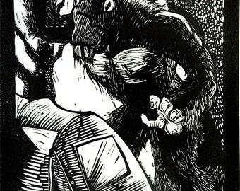 Georgia Devil Linocut Print