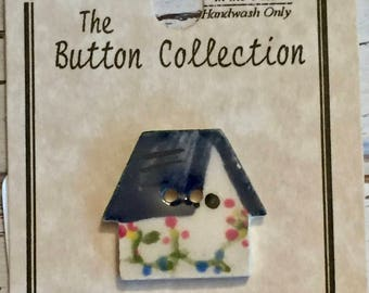 Ceramic Birdhouse Button, Mill Hill Button, 2 Hole, Sewing, Crafting, Cross Stitch, Embellishment, Painted Birdhouse