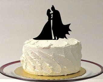 MADE In USA, Superhero With Cape and Bride Wedding Cake Topper, Silhouette Wedding Cake Topper, Superhero Cake Topper, Bride and Groom