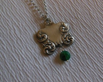 Green Onyx and Silver  Freeform    Antique Fork Necklace