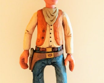 Hand Carved Cowboy Gunslinger Wood Whittled Caricature Folk Art Figurine Art Sculpture One of a Kind