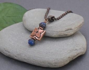 Necklace Lapis and Copper Pendant Necklace, Blue Stone Necklace, Rustic Copper and Lapis Necklace