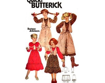 Butterick 6180 70s BETSEY JOHNSON Blouse Vest Petticoat Wrap Skirt Vintage Sewing Pattern Size 8 Breast 27 inches