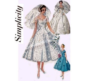 Simplicity 1461 Womens Full Skirt Princess Styled Wedding Dress Bridal Gown Veil Headdress 50s Vintage Sewing Pattern Size 14 Bust 34 inches