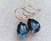 Navy blue Swarovski Rose Gold Earrings, Dark Blue Crystal Rhinestone Earrings, Crystal Teardrop Earrings, Bridesmaid GIfts, Wedding Jewelry