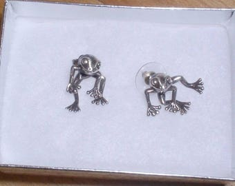 Vintage Sterling Silver Tree Frog Earrings Two Piece Articulated Moveable Funny