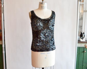 Vintage 1960s BEADED evening tank