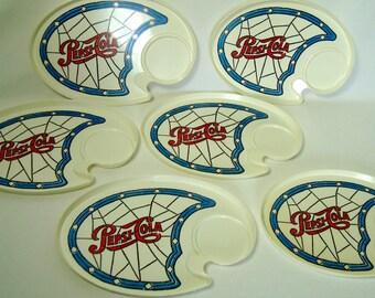 Pepsi Cola Plates 6 Oval Plastic Red White Blue Vintage Pepsico Picnic Snack