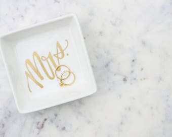 Calligraphy Mrs. Hand-Lettered Ring Trinket Square Dish - white dish with black or gold writing