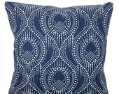 Navy Blue White Pillow Covers Decorative Pillows Cushion Covers Regal Blue White Slub Canvas Alyssa Couch Bed Sofa Pillows Various SIZES