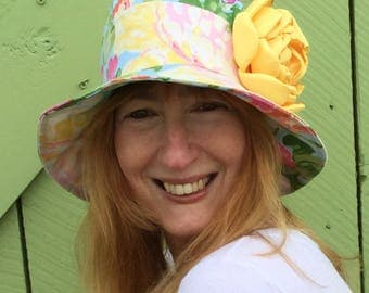 Bright floral cloche hat for women, bucket, sun hat, casual hat
