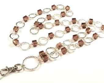 CLEARANCE-Women's Lanyard, Beaded Lanyard, Badge Necklace, Pink Bead Lanyard, Silver Lanyard, Breakaway Lanyard, Pretty ID Lanyard