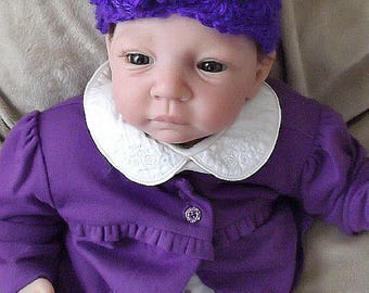Beautiful...HandCrocheted.... Solid Purple Iris.... Cap with Flower.....0 to 3 month Girl.... PHOTOGRAPHERS