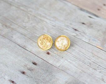 L I L Y  - White and Gold Sparkle, Gold Leaf Foil, Gold Toned Brass Stud Earrings, 10mm or 12mm