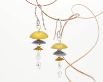 Grey, Yellow, and Silver Drop Earrings – Aluminum Jewelry -Sunbeam Shadows Collection