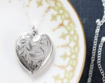 Silver Heart Locket Necklace, Sterling Silver Vintage Birks Swirl Engraved Picture Pendant - My Love