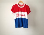 vintage 70s 80s COORS beer red white blue LIGHT BEER merica t-shirt