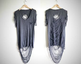 shredded t-shirt // post-apocalyptic top // grunge shirt // cobweb shirt //  destroyed top // upcycled shirt // tunic top // shredded tunic