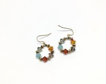 glacier national park . light weight earrings . swarovski crystal earrings. turquoise . orange . red . bronze . gold . tangerine .
