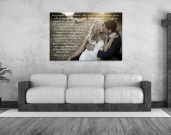 1st Anniversary Gift, Wedding Vows Framed, Canvas Keepsake, Framed Song Lyrics, Gift For Him Or Her