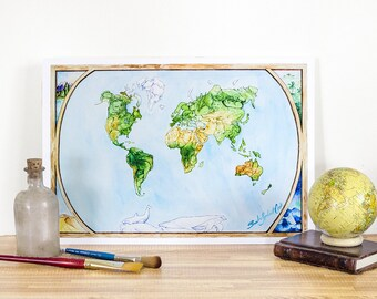 "Animal Map - World Map Print, Fine Art, Medium 16.25"" x 11.25"", Wall Art Print, Nursery Art, Illustrated Map"
