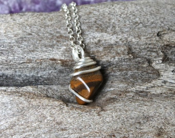 Tiger's Eye Necklace - Natural Stone Jewelry - Smooth Tigers Eye Jewelry - Wire Wrapped Stone Pendant - Gypsy Boho Jewelry Wiccan Necklace