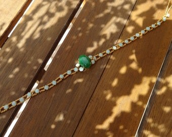 Green Turquoise and Gold Swarovski Crystals Necklace