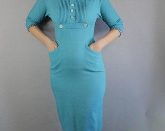 1950s Wiggle Dress, Robin's Egg Blue, 50s Office, Marilyn, Audrey Hepburn, Spring, Sexy Dress, vlv, Viva las vegas, Size Small