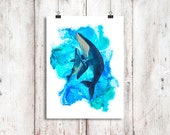 Humpback Whale Mother and Calf Cuddle Watercolor Print, Whale art, Watercolour Mother and Baby Whales, Humpback Whale print, Whale painting