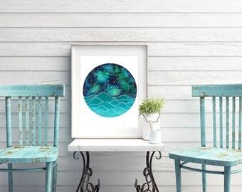 The Gemini Constellation above an ocean of waves watercolor print, Galaxy Art, Zodiac Print, Gemini Painting, Gemini Print Digital Download