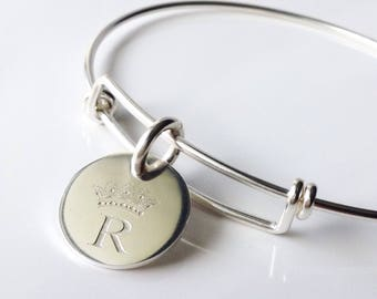 Crown Monogram Bangle Bracelet . Tatum Bradley Expandable Bracelet . Sterling Silver Bangle