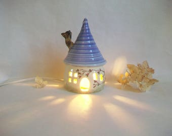 Garden Fairy House/ Night Light - with a Lavender/Purple  Roof - Chimney - Hand Made on Pottery Wheel - Hand Painted Vine - Ready to Ship