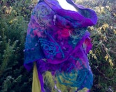 Nuno felted shawl -purple green pink teal - made to order Art to wear  artsy