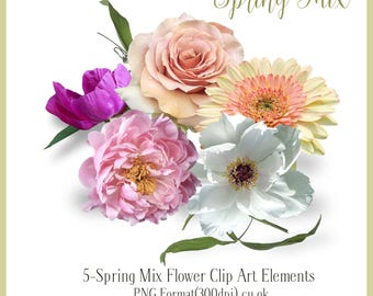 Floral Clip Art, wedding clip art , scrapbooking, decoupage, png format, cu ok, pink rose, card making, flowers png, instant download